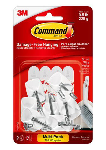 Command Small Wire Hooks – 0.5lb – Pack of 9