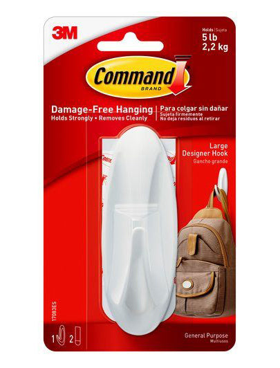 Command Large Designer Stick On Hook – 5lb