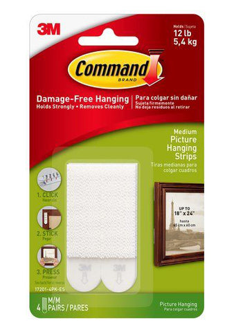 Command Damage-Free Medium Picture Hanging Strips – 12lb – Pack of 4