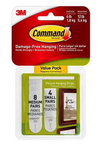 Command Damage-Free Small & Medium Picture Hanging Strips – 4-12lb – Pack of 12