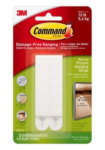 Command Damage-Free Narrow Picture Hanging Strips – 12lb – Pack of 4