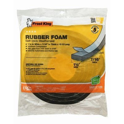 Frost King Rubber Foam Weatherseal Tape – 1-1/4
