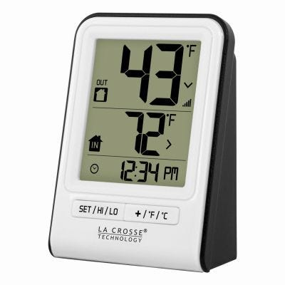 Wireless Digital Indoor/Outdoor Thermometer – White