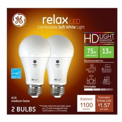 GE HD LED Soft White 75W Equivalent A19 Light Bulbs - 2-Pk