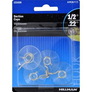 Suction Cup With Hook – Clear - Small – Pack of 4