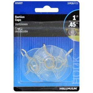 Suction Cup With Hook – Clear - Medium – Pack of 3