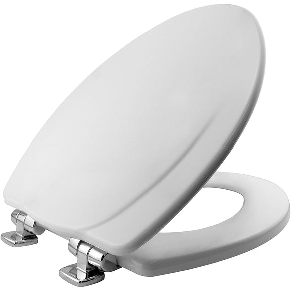 Whisper-Quiet Elongated White Wood Toilet Seat – Chrome Hinges