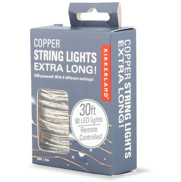 Kikkerland Remote Controlled Silver String Lights – 30ft