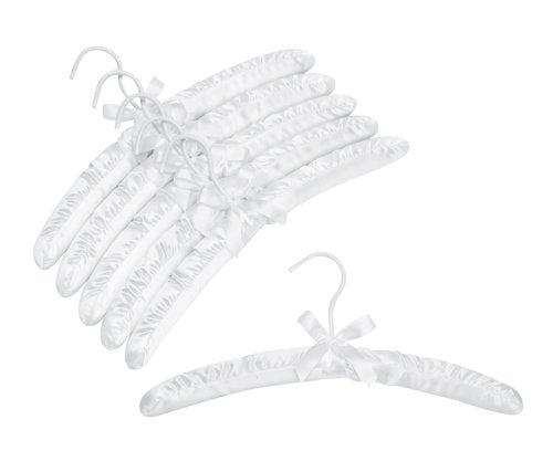 Satin Padded Hangers, White, Set of 6