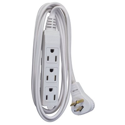 Flat Plug Extension Cord – 6' White