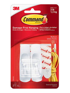 Command Medium Utility Stick On Hooks – 3lb – Pack of 2