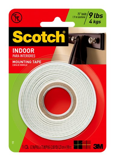 Scotch Indoor Mounting Tape, 0.5 in x 75 in, White