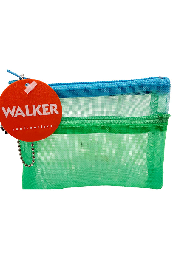 Walker Bags Color Mesh Double Zip Case  – Mint/Aqua – 5x7in
