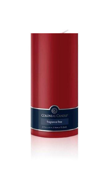 Colonial Candle Unscented Pillar – Red – 3x6