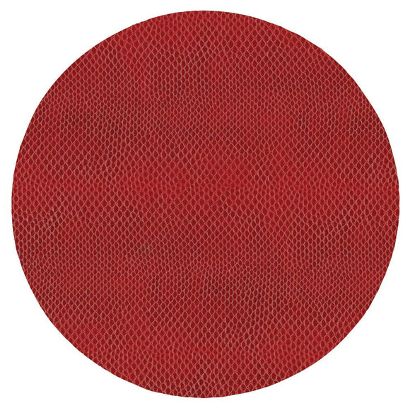 Snakeskin Felt-Backed Round Placemat – Crimson