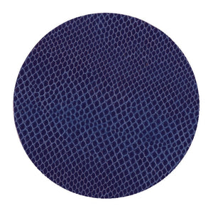 Caspari Snakeskin Felt-Backed Coasters, Navy Blue - Set of 8