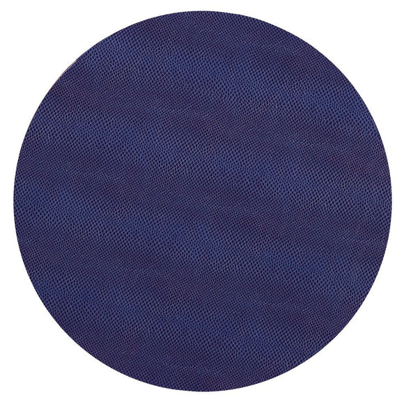 Snakeskin Felt-Backed Round Placemat – Navy Blue
