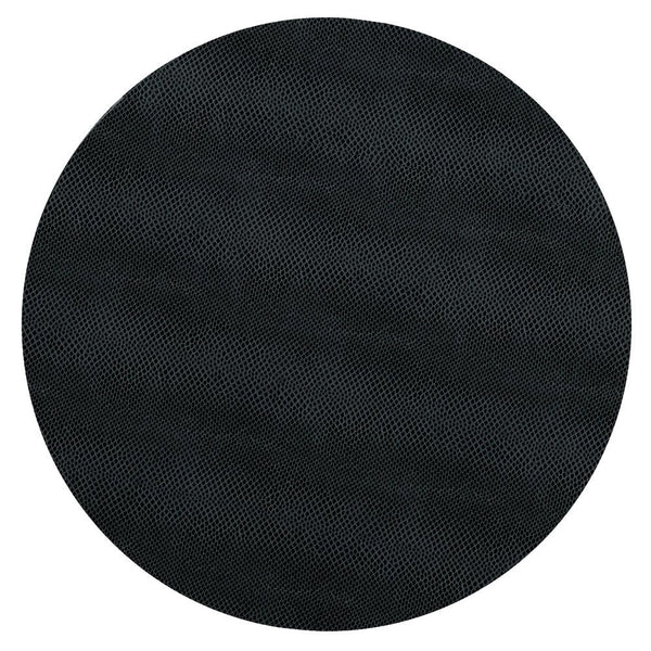 Snakeskin Felt-Backed Round Placemat – Black