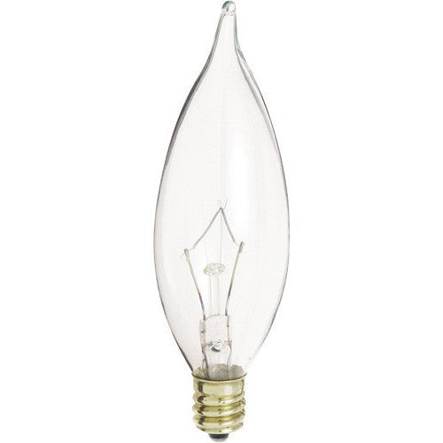 Clear Flame-Tip Chandelier Bulb – Candelabra Base