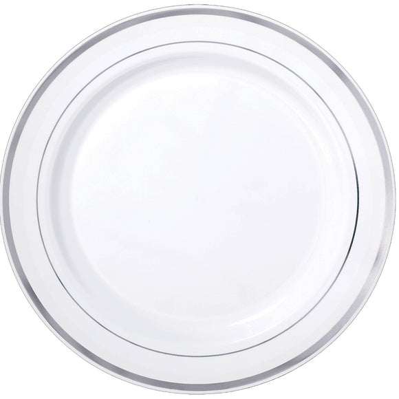 White Premium Plastic Tray With Silver Trim - 16