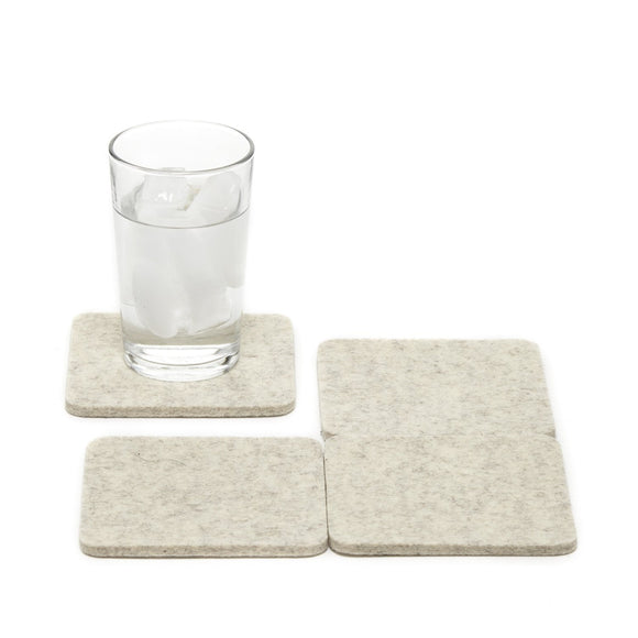 Graf Lantz Bierfilzl Square Felt Coaster – Heather White – 4pk