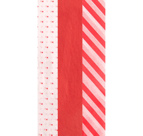 Dots And Stripes Mix-Red Tissue Paper – 9 Sheets