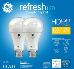 GE Refresh Daylight HD 100W Replacement LED Light Bulbs General Purpose A21 - 2 pk