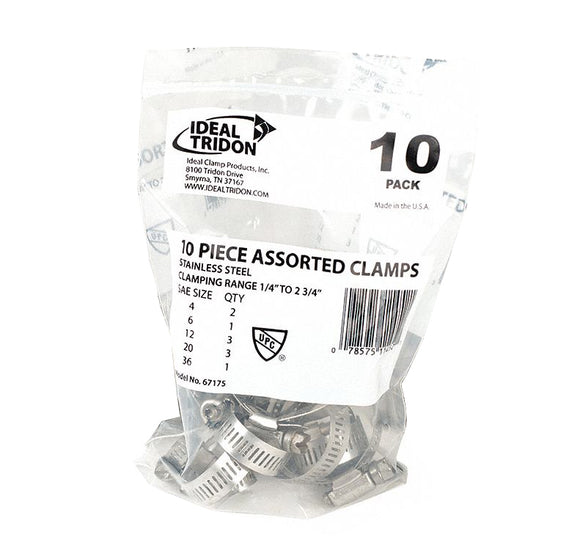 Assorted Hose Clamps – Pack of 10