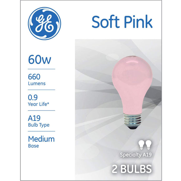 GE Energy Efficient A19 Pink Incandescent Light Bulb 60W – 2 Pack