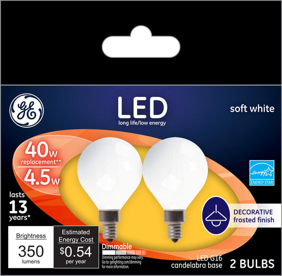 GE LED G16 40W Replacement Bulbs – 2 Pack