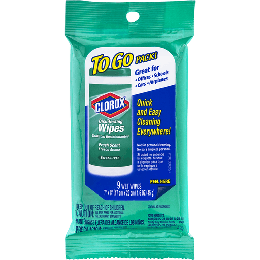 Clorox Disinfecting Wipes To Go Pack – Fresh Scent – Pack of 9