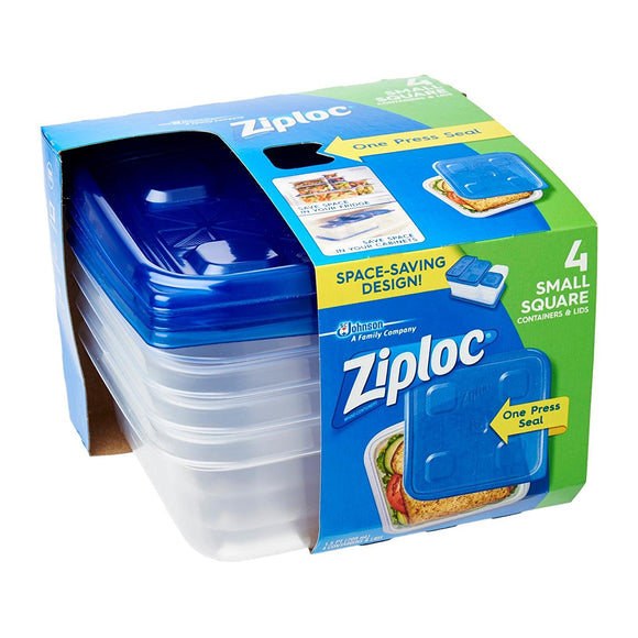 Ziploc Container Small Square, 4 Count
