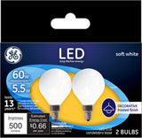 GE LED G16 60W Replacement Bulbs – 2 Pack