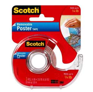 Scotch Removable Poster Tape, 3/4 in x 150 in, Clear