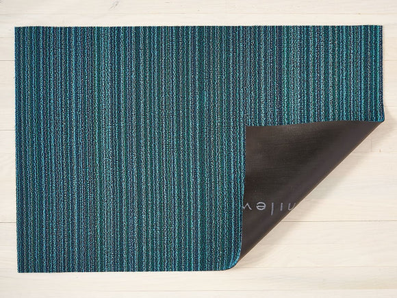 Chilewich Shag Skinny Stripe Doormat – Turquoise – 18