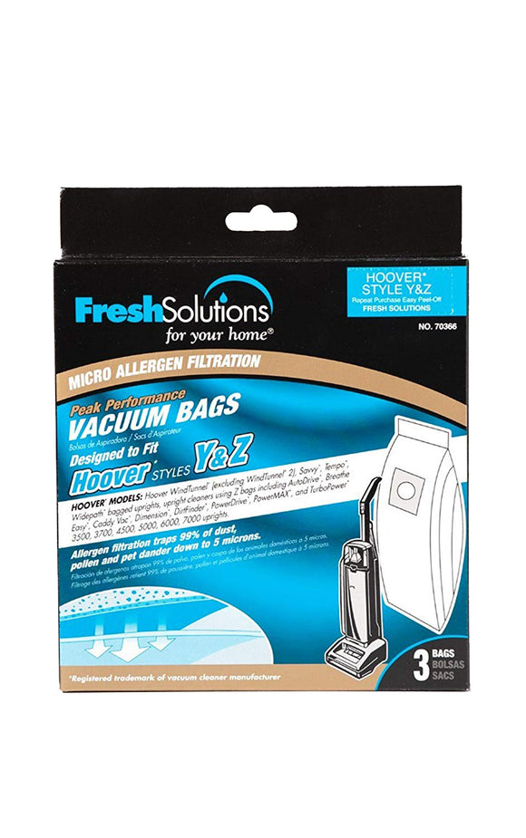 Fresh Solutions Hoover Style Y and Z Micro Filtration Vacuum Bags – 3pk