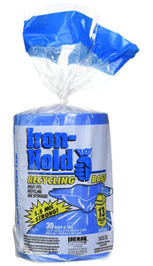 Iron Hold Tall Kitchen Blue Recycling Bags – 13 Gallon – 30 Count