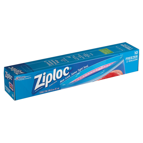 Ziploc Freezer Bags 2 Gallon, 10 Count