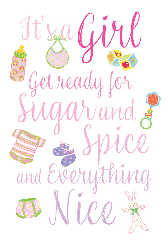 Caspari – Sugar And Spice Baby Girl Card – 1 Card & 1 Envelope