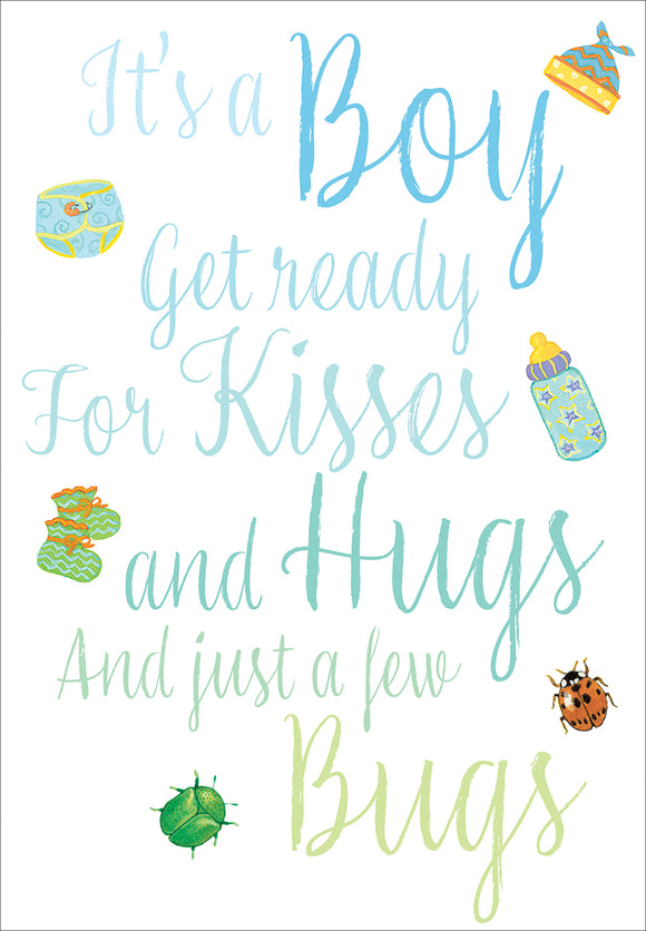 Caspari – Hugs And Kisses Baby Boy Card – 1 Card & 1 Envelope