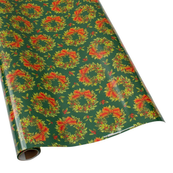 Holly Wreath Gift Wrapping Paper in Green - 30