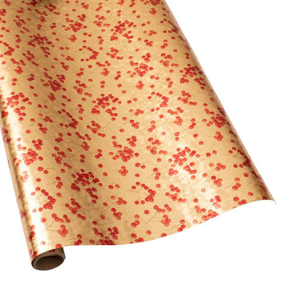 Berry Gathering Gift Wrapping Paper in Gold - 30