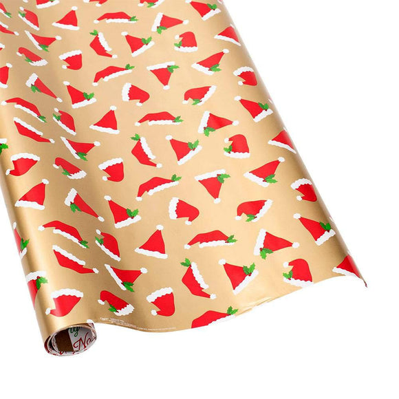 Santa Hat Toss Reversible Gift Wrapping Paper - 30