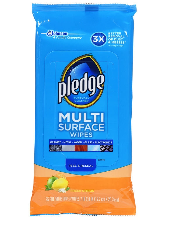 Pledge Multi Surface Everyday Wipes - Fresh Citrus 25 Ct.