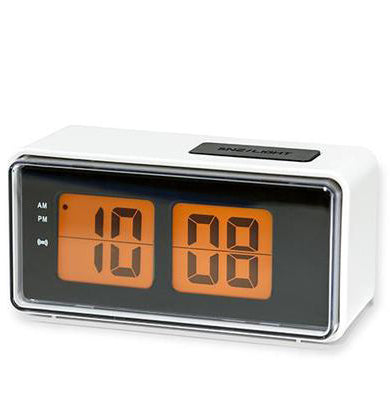 Kikkerland Retro Digital Flip Alarm Clock – White