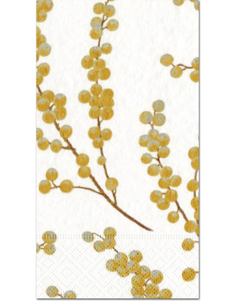 Caspari Berry Branches Gold Guest Towels - 15pk