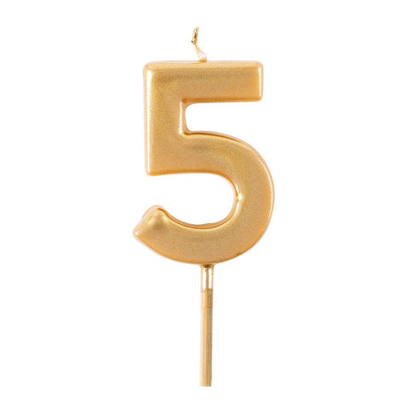 Number Birthday Candles in Gold –