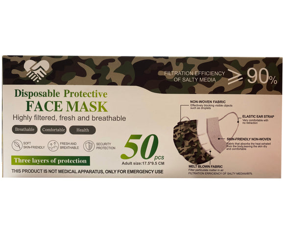 Disposable Face Mask – Camo – Box of 50