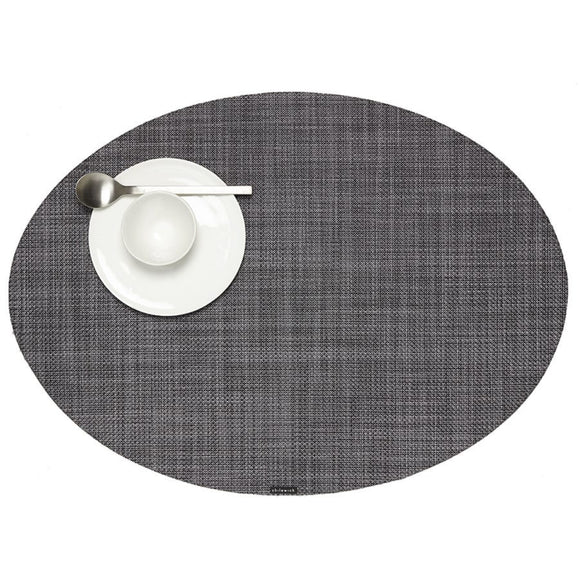 Chilewich Mini Basketweave Oval Placemat – Cool Grey