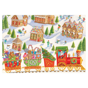 Caspari Gingerbread Village Christmas Card – 1 Card & 1 Envelope